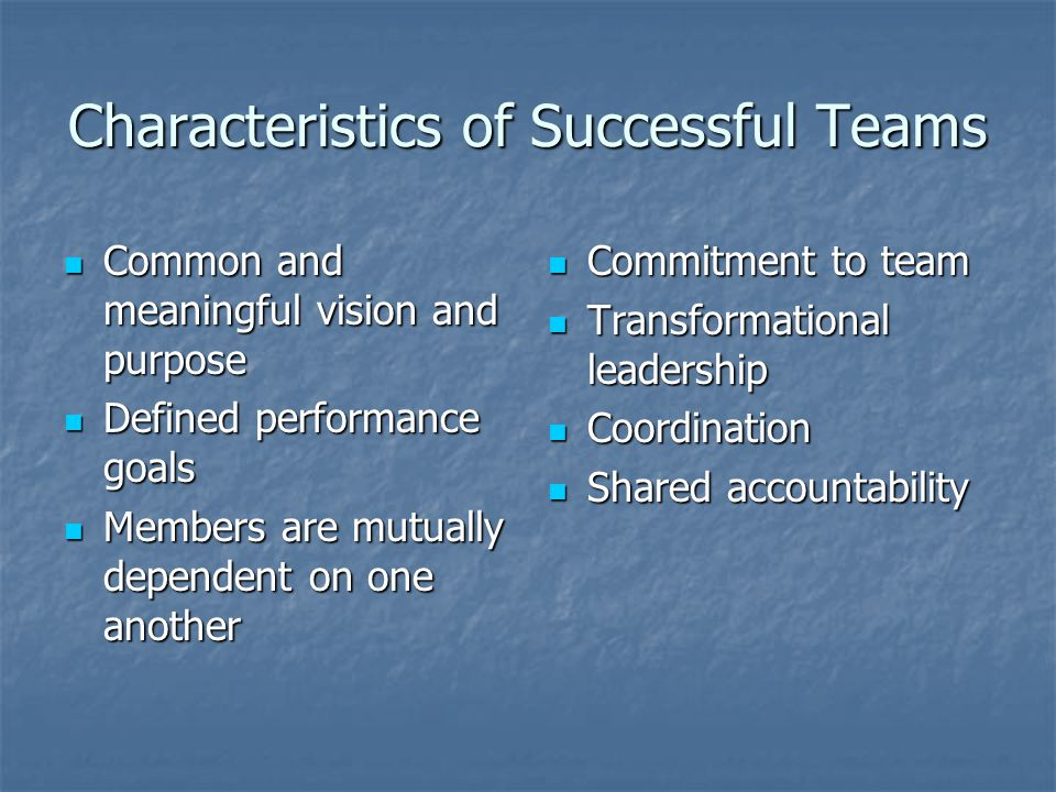 Characteristics of Successful Teams Common and meaningful vision and purpose Common and meaningful vision and purpose Defined performance goals Defined performance goals Members are mutually dependent on one another Members are mutually dependent on one another Commitment to team Commitment to team Transformational leadership Transformational leadership Coordination Coordination Shared accountability Shared accountability