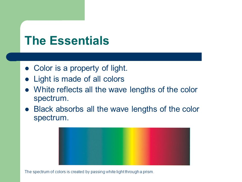 The Essentials Color is a property of light.