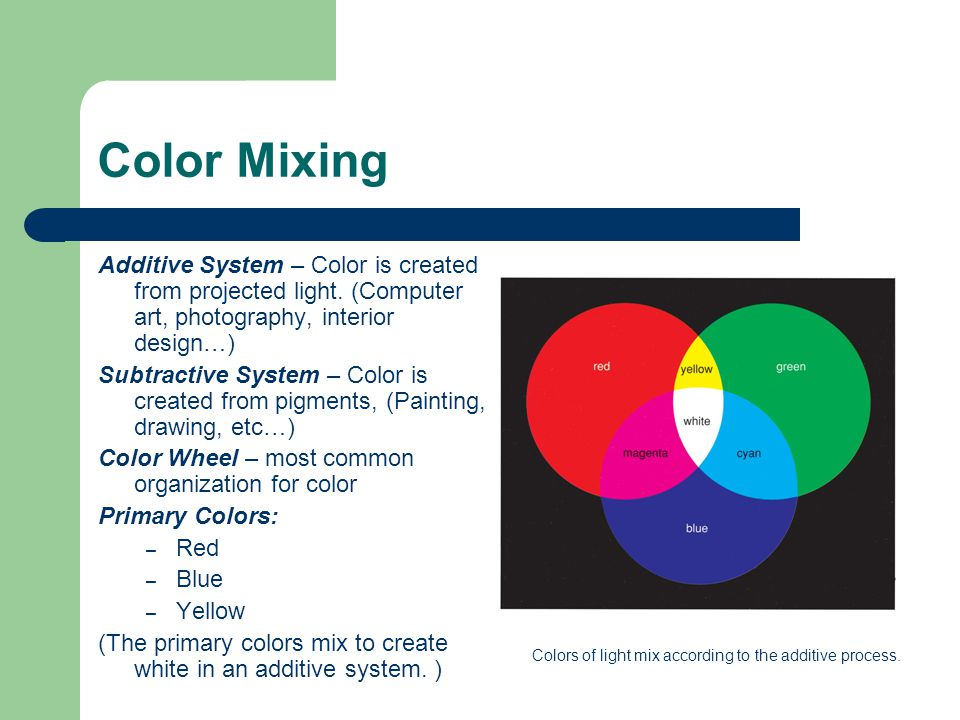 Color Mixing Additive System – Color is created from projected light.