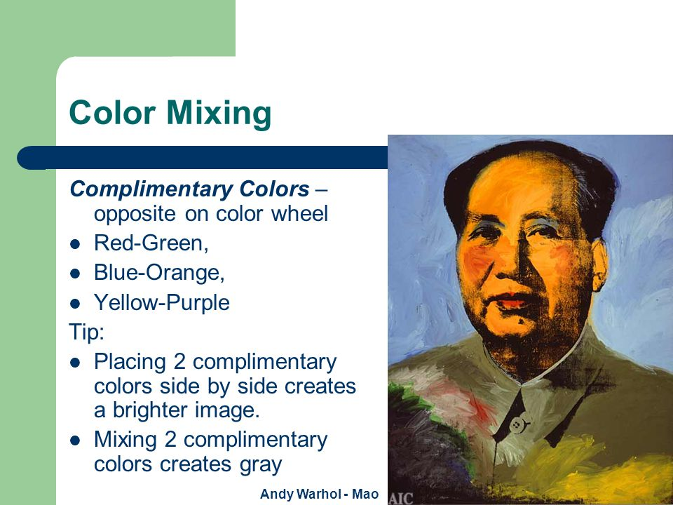 Cool/Warm Colors Identifying colors with the senses Warm Colors: – Red, – Orange, – Yellow Warm colors advance Represents – Fire, Sunlight Implies – Happy energy An artist many use warm and cool color relationships to create depth and volume.