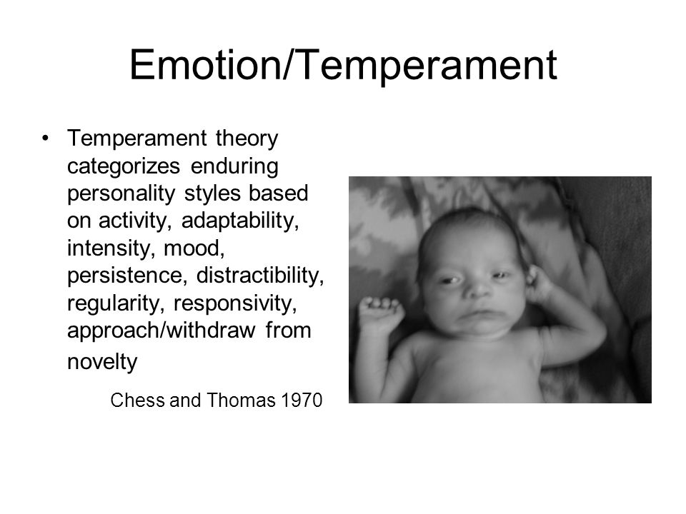 Emotion/Temperament Temperament theory categorizes enduring personality styles based on activity, adaptability, intensity, mood, persistence, distractibility, regularity, responsivity, approach/withdraw from novelty Chess and Thomas 1970