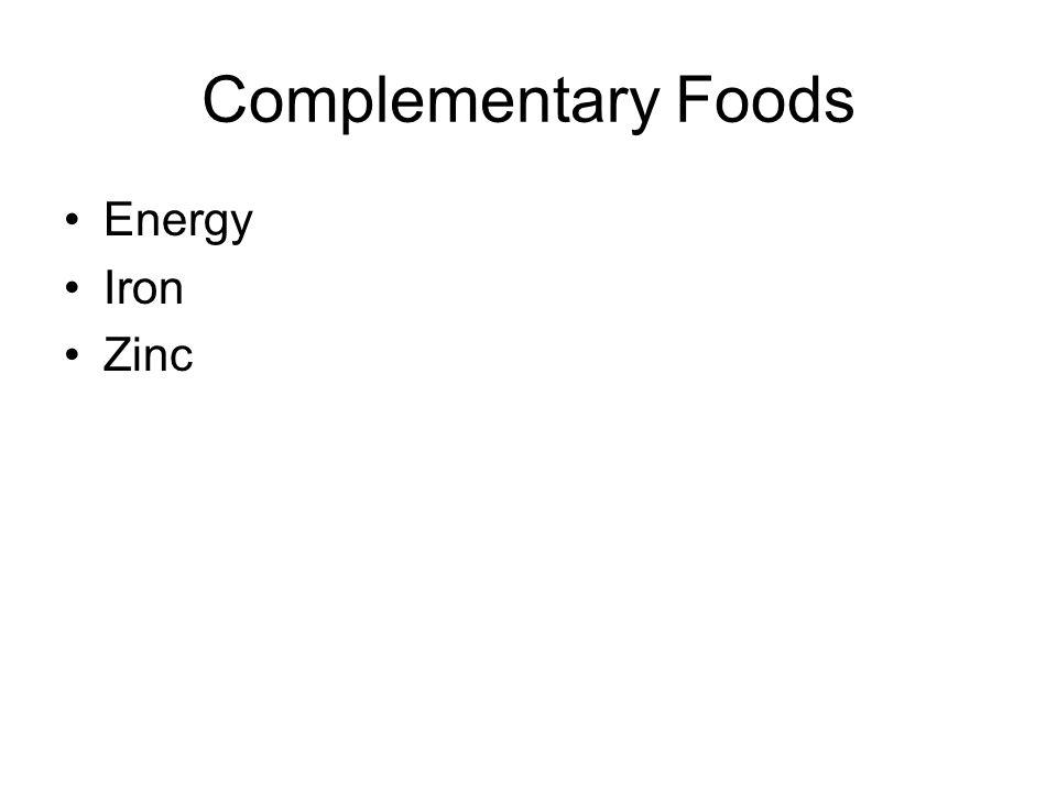 Complementary Foods Energy Iron Zinc