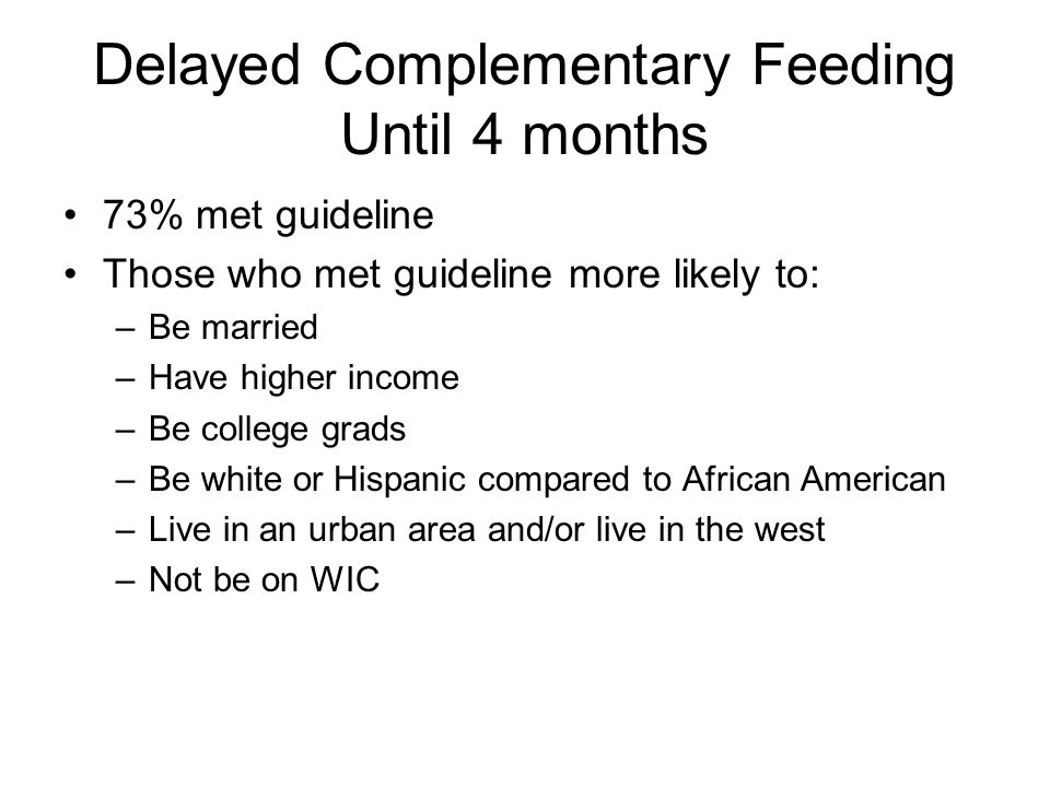 Delayed Complementary Feeding Until 4 months 73% met guideline Those who met guideline more likely to: –Be married –Have higher income –Be college grads –Be white or Hispanic compared to African American –Live in an urban area and/or live in the west –Not be on WIC