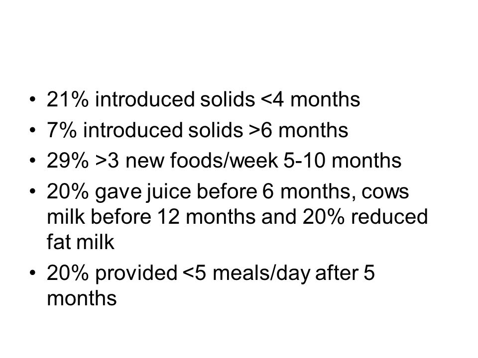 21% introduced solids <4 months 7% introduced solids >6 months 29% >3 new foods/week 5-10 months 20% gave juice before 6 months, cows milk before 12 months and 20% reduced fat milk 20% provided <5 meals/day after 5 months