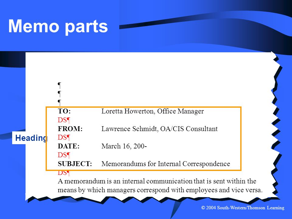 © 2004 South-Western/Thomson Learning Memo parts ¶ TO:Loretta Howerton, Office Manager DS¶ FROM:Lawrence Schmidt, OA/CIS Consultant DS¶ DATE:March 16,