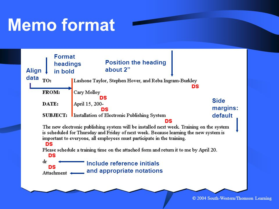 """© 2004 South-Western/Thomson Learning Memo format Side margins: default Position the heading about 2"""" Format headings in bold Align data Include refer"""