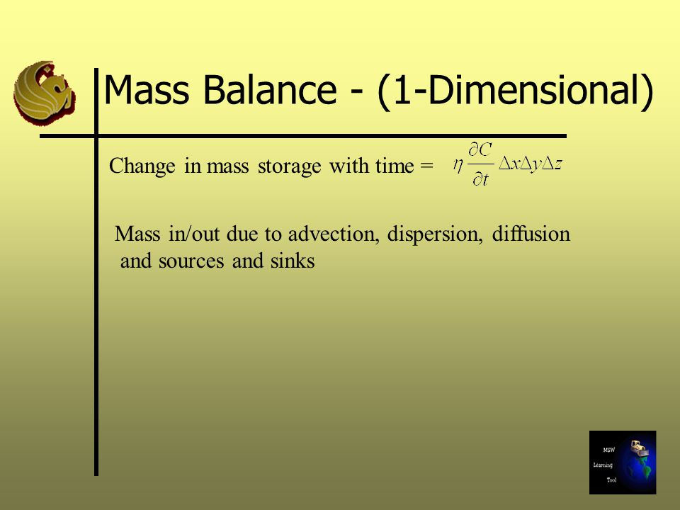 Mass Balance - (1-Dimensional) Change in mass storage with time = Mass in/out due to advection, dispersion, diffusion and sources and sinks