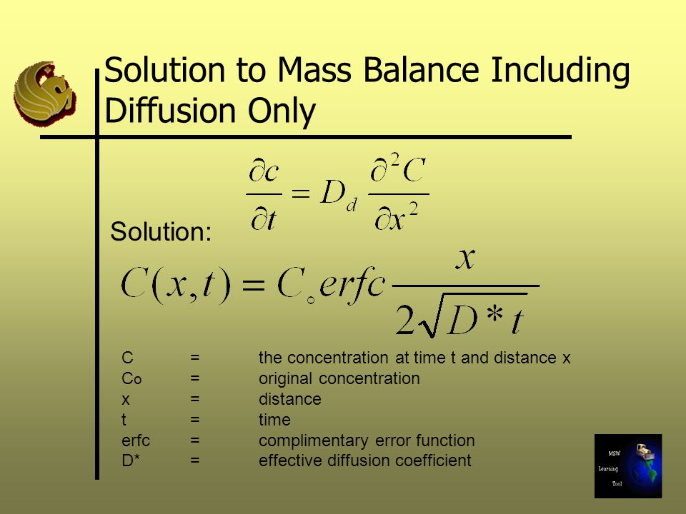 Solution to Mass Balance Including Diffusion Only C = the concentration at time t and distance x C o = original concentration x = distance t = time er