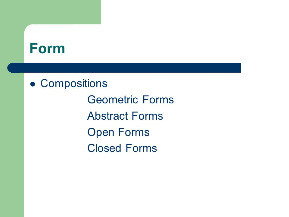 Form Compositions Geometric Forms Abstract Forms Open Forms Closed Forms