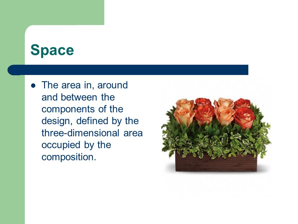 Space The area in, around and between the components of the design, defined by the three-dimensional area occupied by the composition.