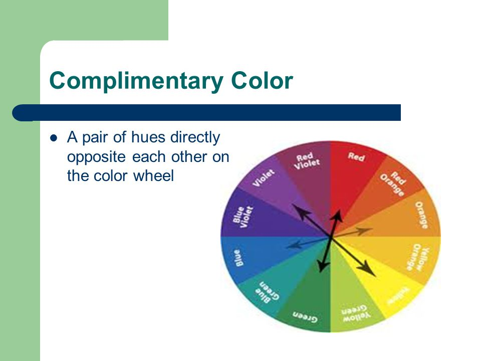 Complimentary Color A pair of hues directly opposite each other on the color wheel