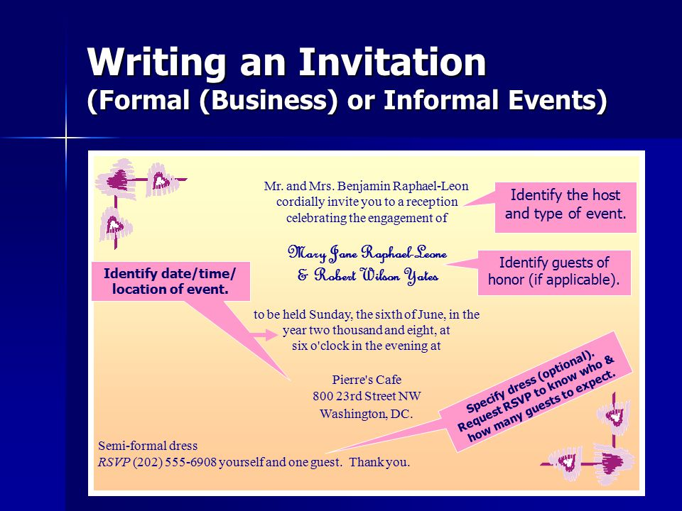 Writing an Invitation (Formal (Business) or Informal Events) Mr.
