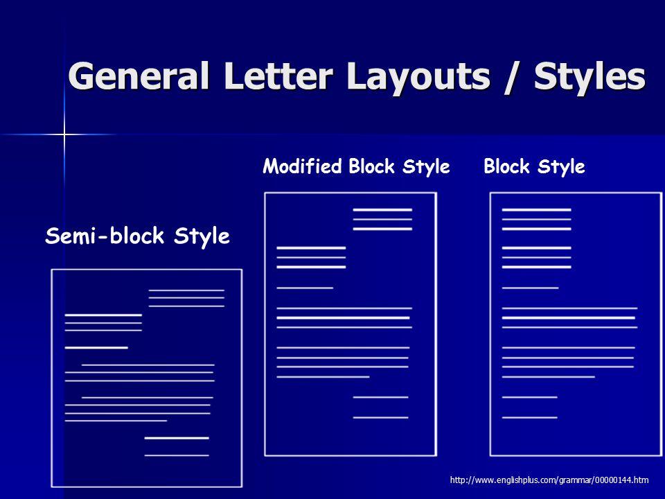 Modified Block Style Block Style Semi-block Style General Letter Layouts / Styles http://www.englishplus.com/grammar/00000144.htm