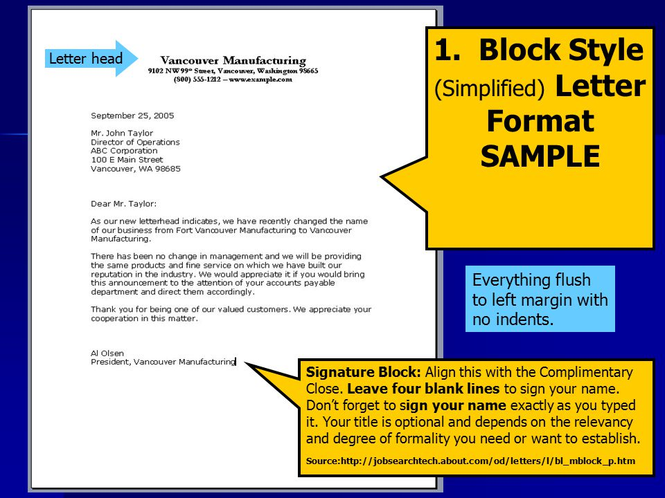 1. Block Style (Simplified) Letter Format SAMPLE Signature Block: Align this with the Complimentary Close. Leave four blank lines to sign your name. D