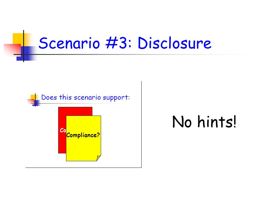 Scenario #3: Disclosure No hints! Does this scenario support: Non Compliance? Partial Compliance?