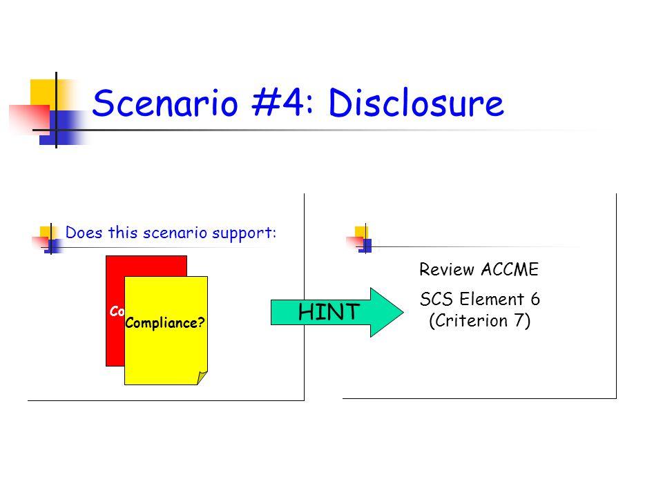 Scenario #4: Disclosure Does this scenario support: Non Compliance.