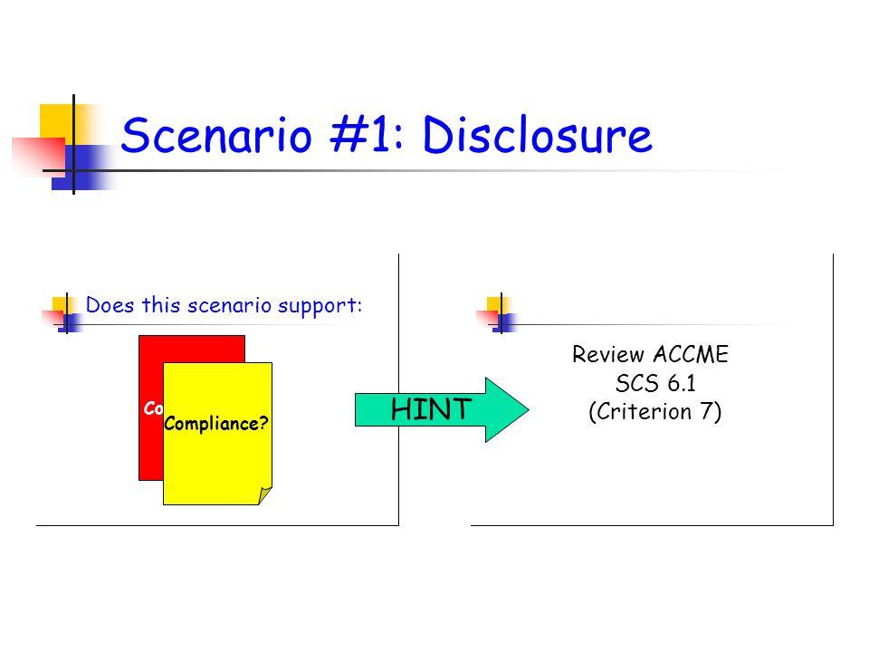 Scenario #1: Disclosure Does this scenario support: Non Compliance.