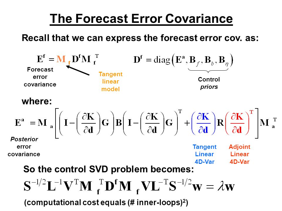 The Forecast Error Covariance Recall that we can express the forecast error cov.