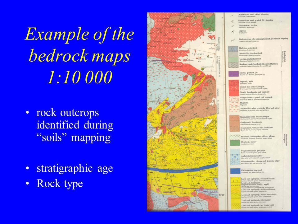 Example of the bedrock maps 1:10 000 rock outcrops identified during soils mapping stratigraphic age Rock type