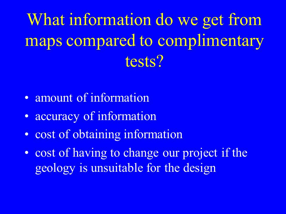 What information do we get from maps compared to complimentary tests.