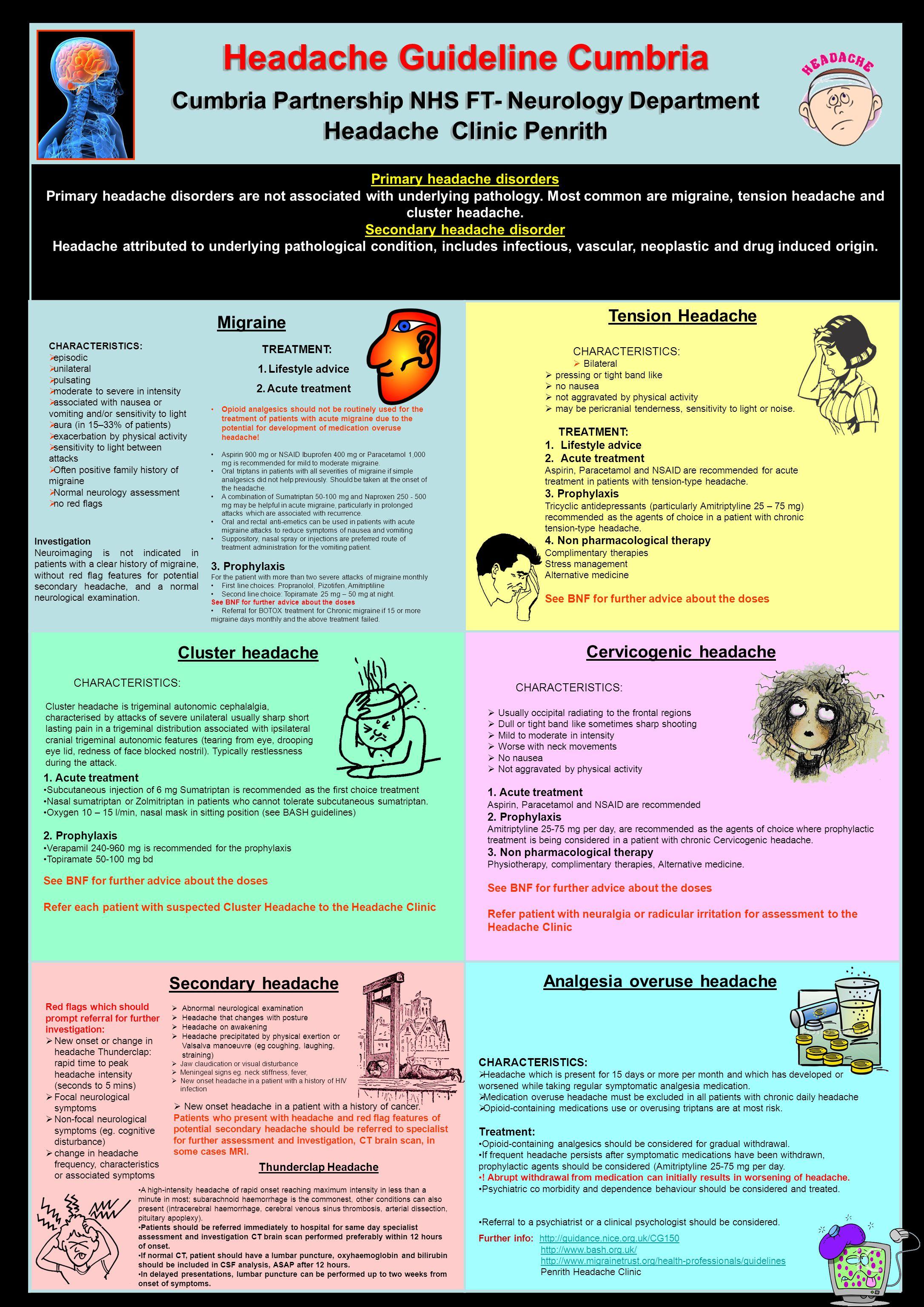 Headache Guideline Cumbria Cumbria Partnership NHS FT- Neurology Department Headache Clinic Penrith Headache Guideline Cumbria Cumbria Partnership NHS