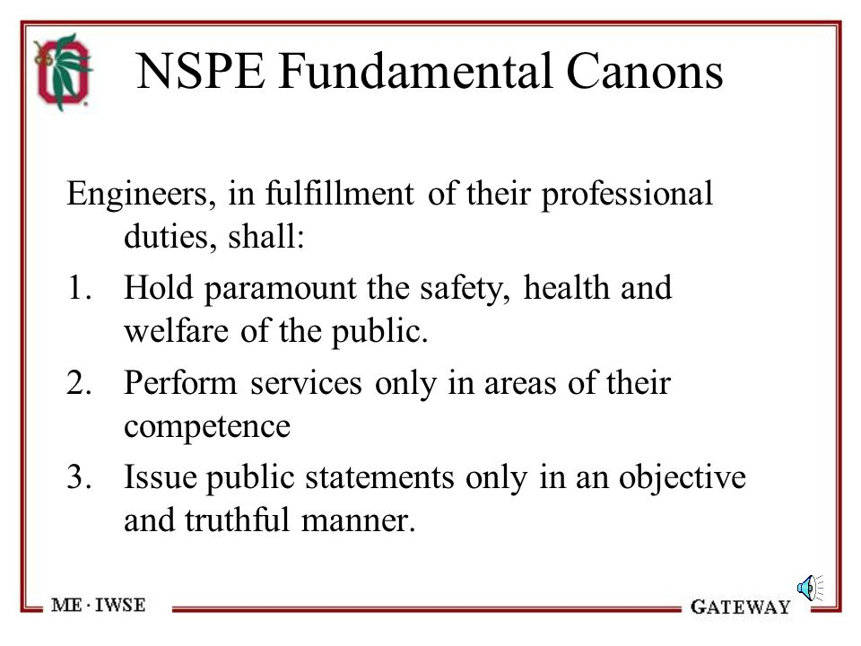 Professional Ethics Who Decides? –Standards adopted by Professional Community –NSPE, ASME, ASCE, etc. –May conflict with personal ethics Case studies