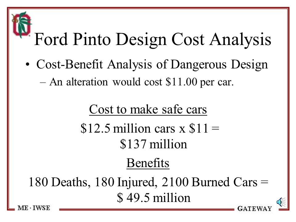 Ford Pinto Design Methodology Cost-Benefit Analysis of Dangerous Design –According to Ford, the unsafe design would cause: 180 Burn Deaths 180 Serious