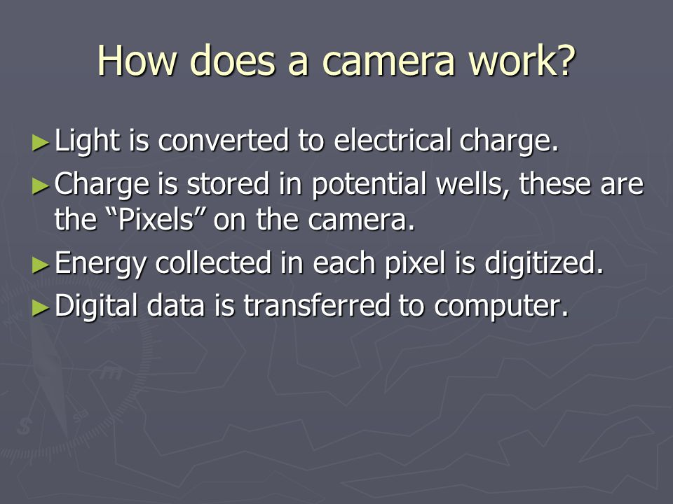 How does a camera work.► Light is converted to electrical charge.
