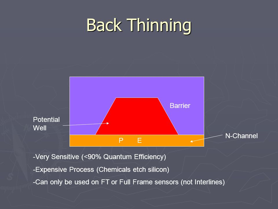 Back Thinning PE -Very Sensitive (<90% Quantum Efficiency) -Expensive Process (Chemicals etch silicon) -Can only be used on FT or Full Frame sensors (not Interlines) Barrier Potential Well N-Channel