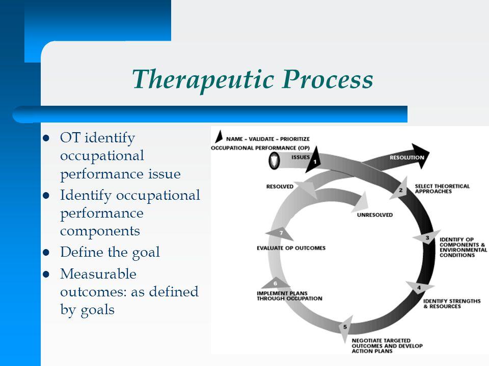 Therapeutic Process OT identify occupational performance issue Identify occupational performance components Define the goal Measurable outcomes: as de