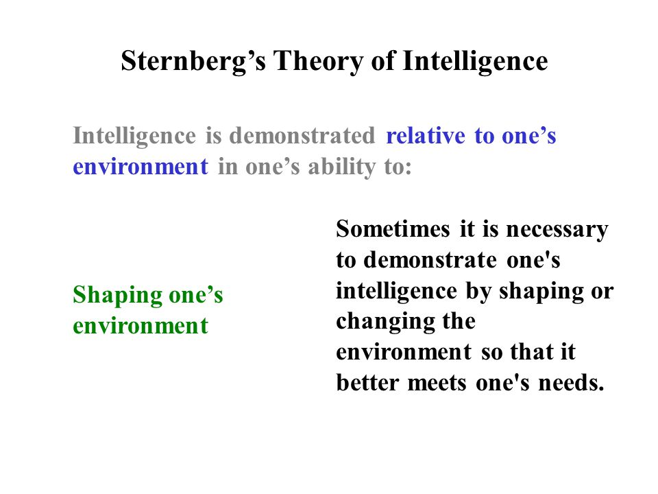 Intelligence is demonstrated relative to one's environment in one's ability to: Sternberg's Theory of Intelligence Shaping one's environment Sometimes it is necessary to demonstrate one s intelligence by shaping or changing the environment so that it better meets one s needs.