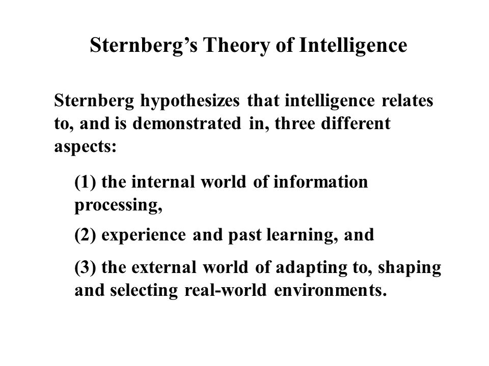 Sternberg hypothesizes that intelligence relates to, and is demonstrated in, three different aspects: Sternberg's Theory of Intelligence (1) the internal world of information processing, (2) experience and past learning, and (3) the external world of adapting to, shaping and selecting real-world environments.