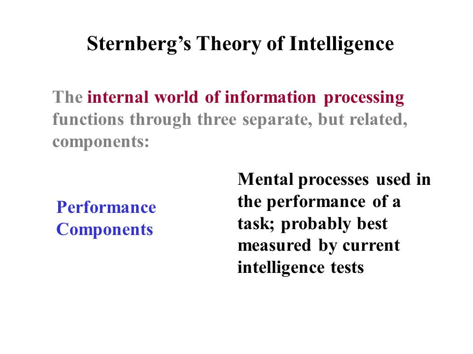 The internal world of information processing functions through three separate, but related, components: Sternberg's Theory of Intelligence Performance Components Mental processes used in the performance of a task; probably best measured by current intelligence tests