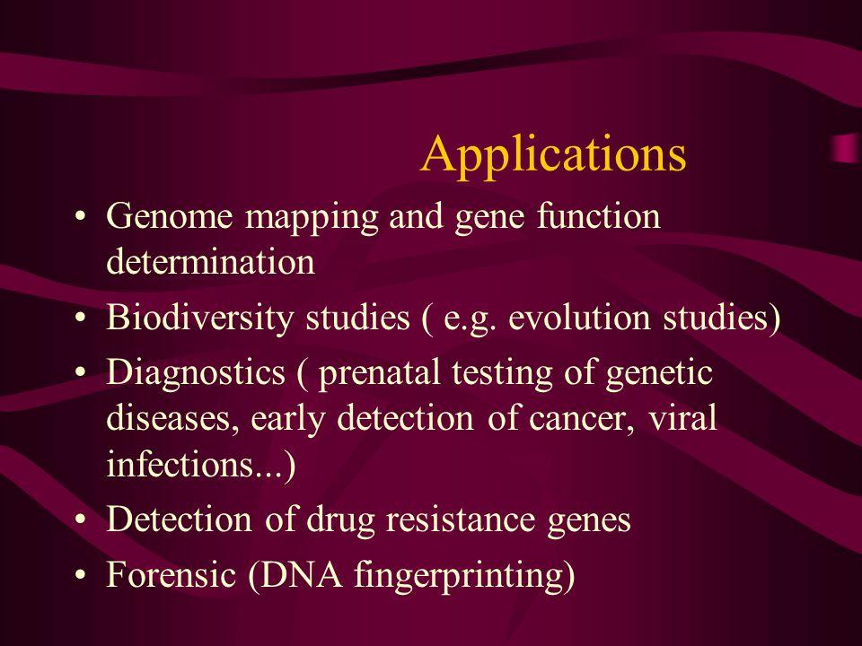 Applications Genome mapping and gene function determination Biodiversity studies ( e.g. evolution studies) Diagnostics ( prenatal testing of genetic d