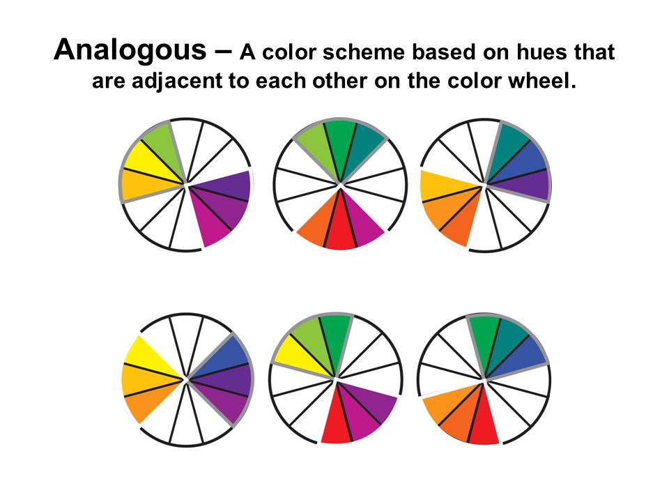 Analogous – A color scheme based on hues that are adjacent to each other on the color wheel.