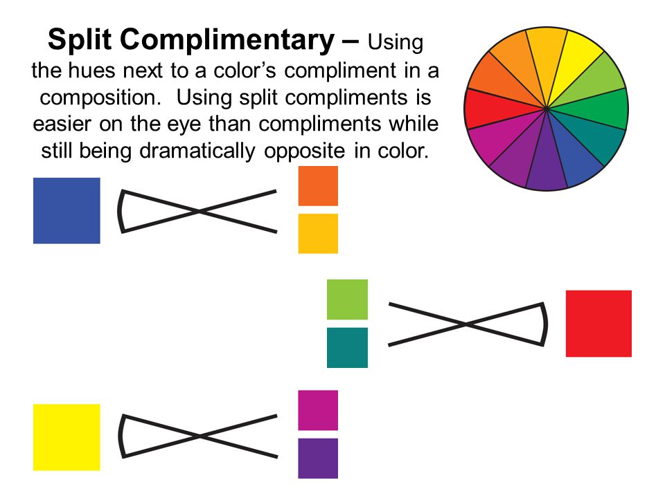 Split Complimentary – Using the hues next to a color's compliment in a composition.