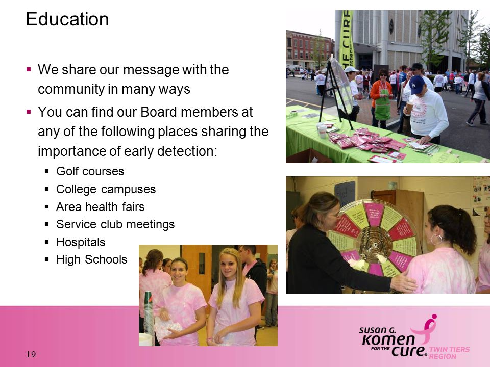 Education  We share our message with the community in many ways  You can find our Board members at any of the following places sharing the importance of early detection:  Golf courses  College campuses  Area health fairs  Service club meetings  Hospitals  High Schools 19
