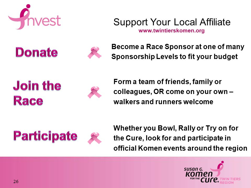 26 Become a Race Sponsor at one of many Sponsorship Levels to fit your budget Form a team of friends, family or colleagues, OR come on your own – walkers and runners welcome Whether you Bowl, Rally or Try on for the Cure, look for and participate in official Komen events around the region Support Your Local Affiliate www.twintierskomen.org