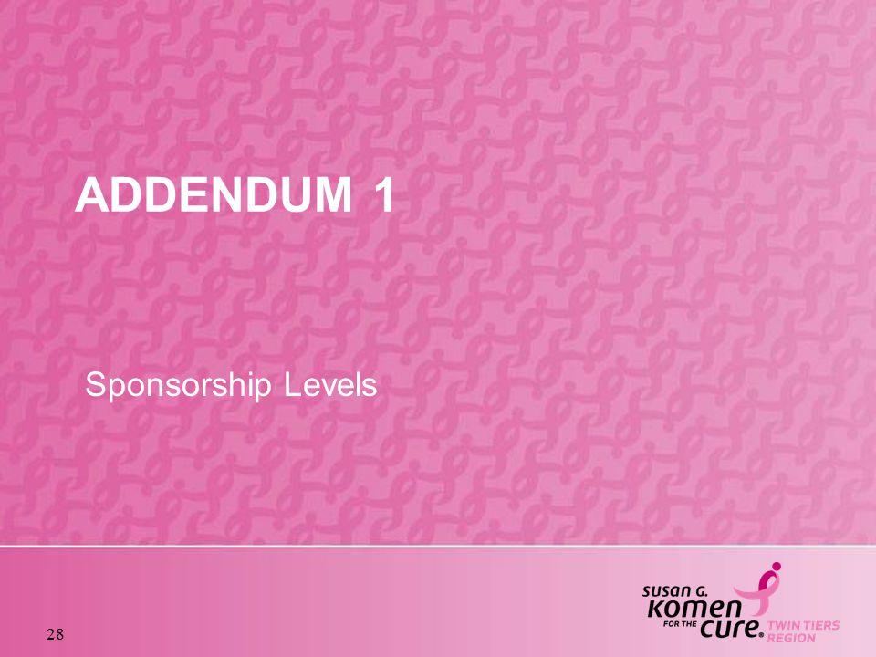 28 ADDENDUM 1 Sponsorship Levels