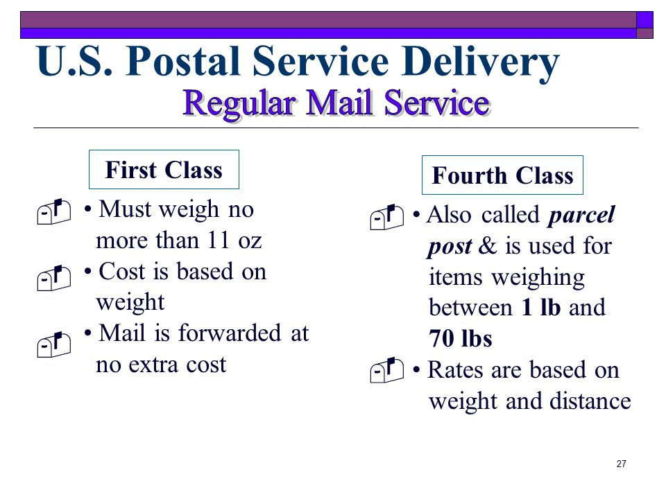 26  Airmail Supplies Letters and packages must be labeled AIRMAIL on all sides  Envelopes for Overnight Delivery Services USPS and other companies require the use of their own mailing materials for next day delivery  Postal Rates, Scales, and Meters Rates and regulations change periodically so keep current rates on-hand at the medical office Mailing Equipment and Supplies (cont.)