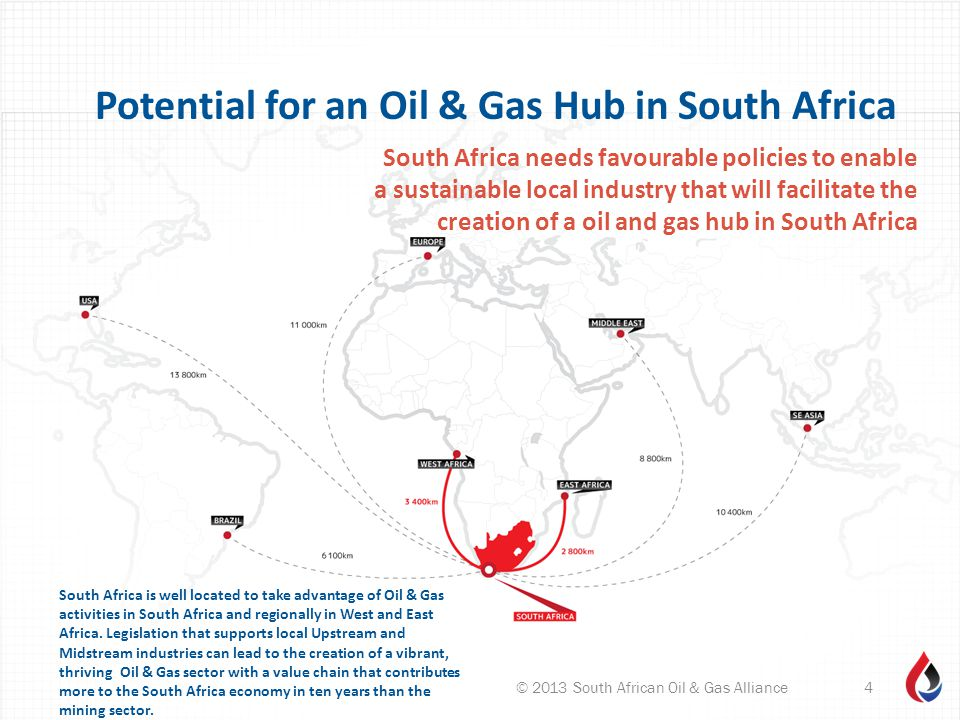 South Africa is well located to take advantage of Oil & Gas activities in South Africa and regionally in West and East Africa. Legislation that suppor