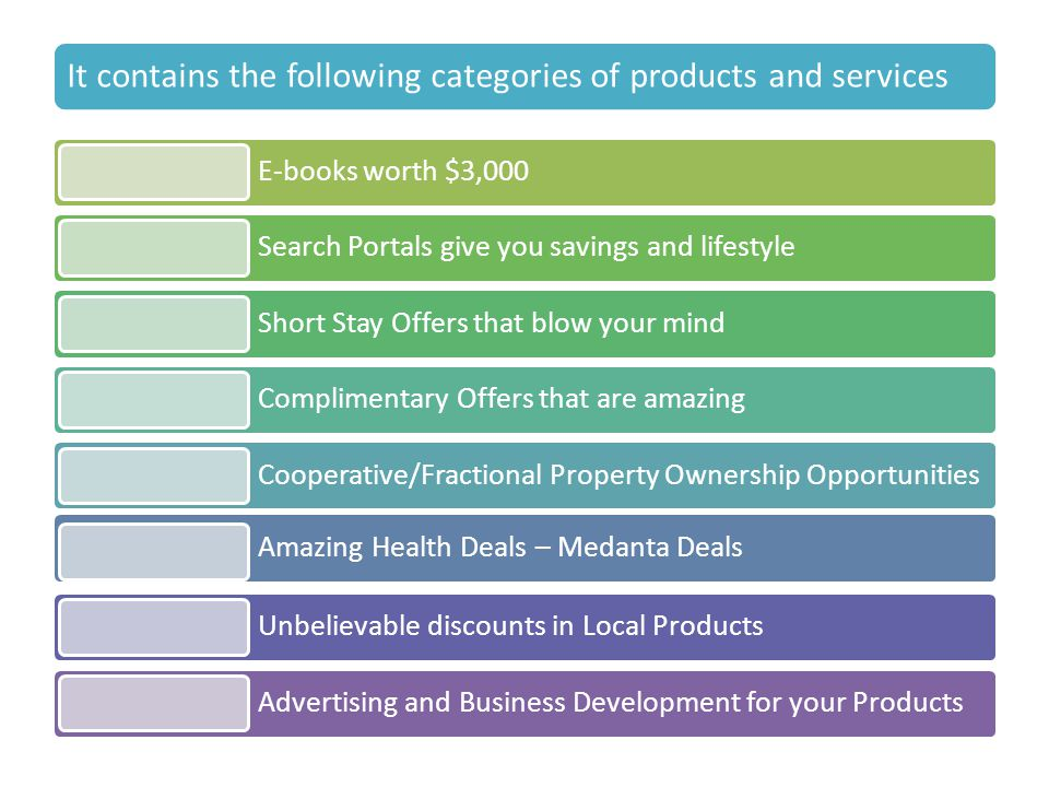 It contains the following categories of products and services E-books worth $3,000 Search Portals give you savings and lifestyle Short Stay Offers tha