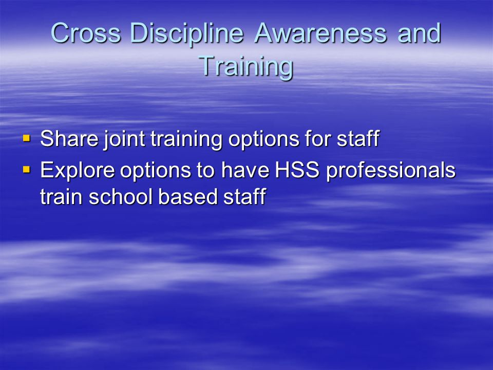 Cross Discipline Awareness and Training  Share joint training options for staff  Explore options to have HSS professionals train school based staff