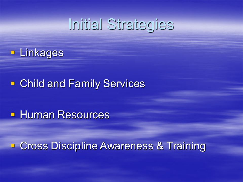 Initial Strategies  Linkages  Child and Family Services  Human Resources  Cross Discipline Awareness & Training