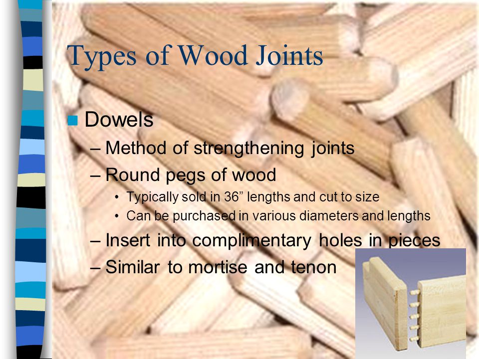 """Types of Wood Joints Dowels –Method of strengthening joints –Round pegs of wood Typically sold in 36"""" lengths and cut to size Can be purchased in vari"""