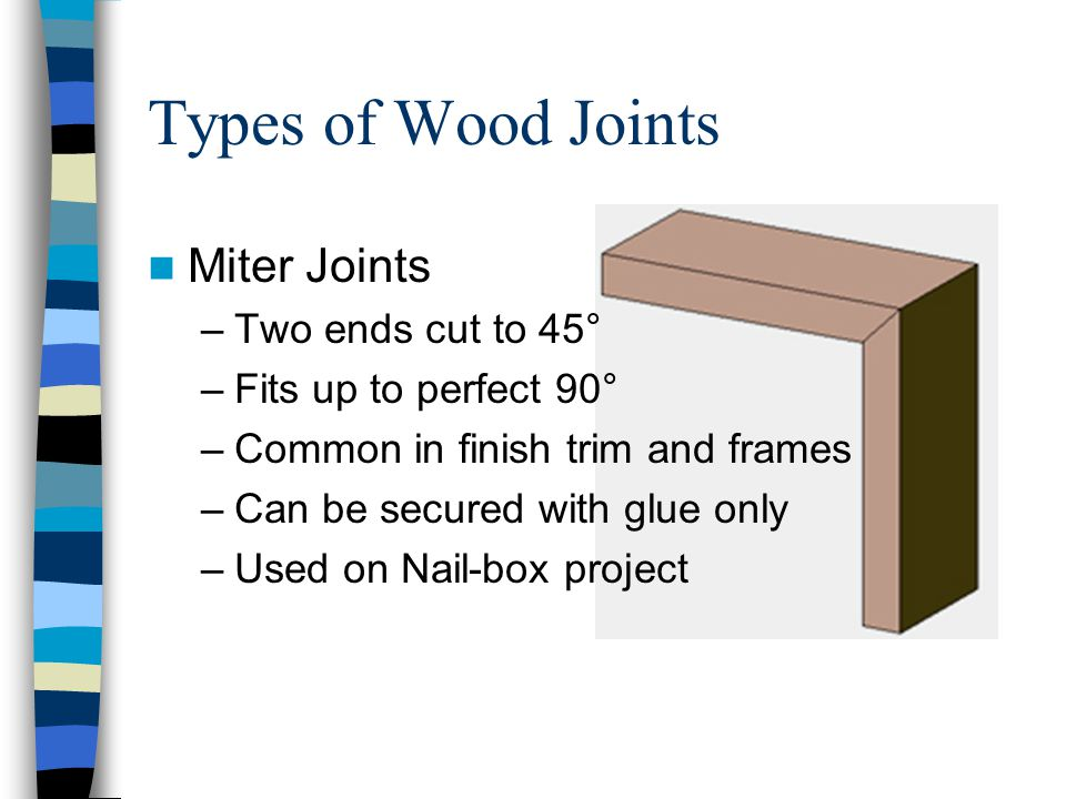 Types of Wood Joints Miter Joints –Two ends cut to 45° –Fits up to perfect 90° –Common in finish trim and frames –Can be secured with glue only –Used