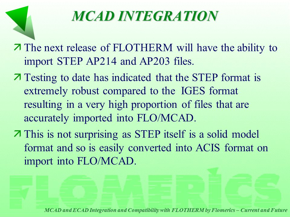 MCAD and ECAD Integration and Compatibility with FLOTHERM by Flomerics – Current and Future äThe next release of FLOTHERM will have the ability to import STEP AP214 and AP203 files.
