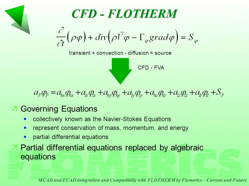 MCAD and ECAD Integration and Compatibility with FLOTHERM by Flomerics – Current and Future CFD - FLOTHERM äAlgebraic FVA equations solved iteratively äSolution is said to Converge when (default or user- specified) convergence criteria are met äConvergence criteria is based on rigorous satisfaction of conservation equations