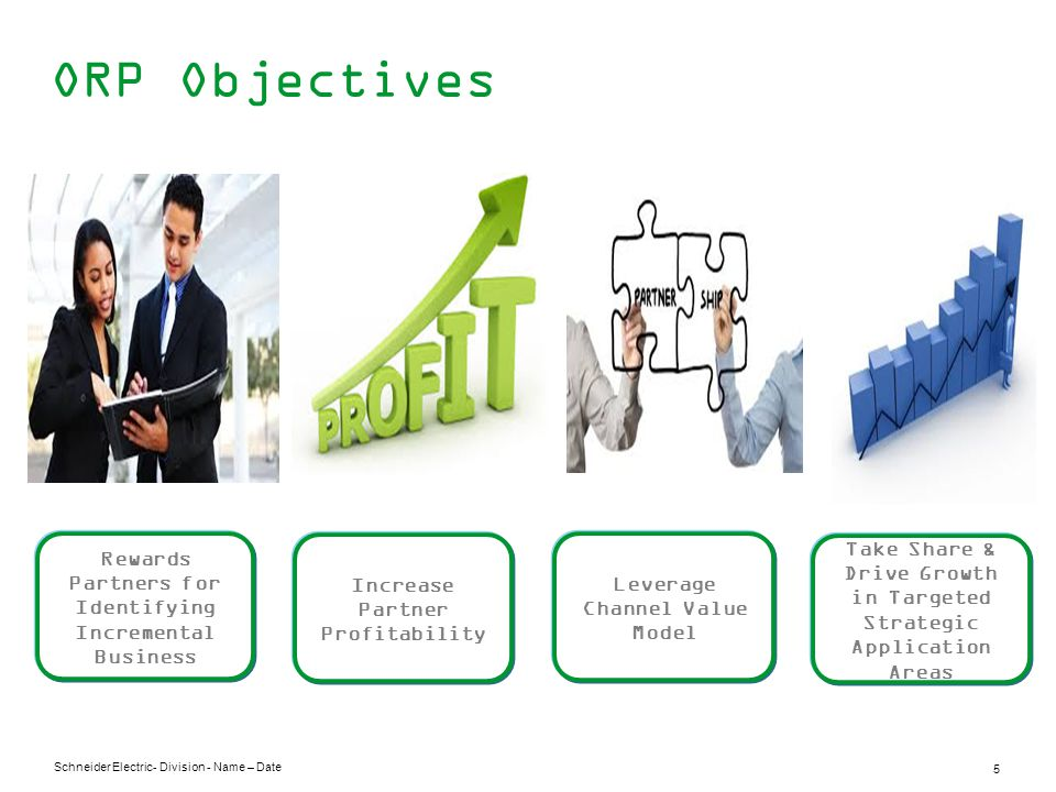 Schneider Electric 5 - Division - Name – Date ORP Objectives Rewards Partners for Identifying Incremental Business Increase Partner Profitability Leverage Channel Value Model Take Share & Drive Growth in Targeted Strategic Application Areas