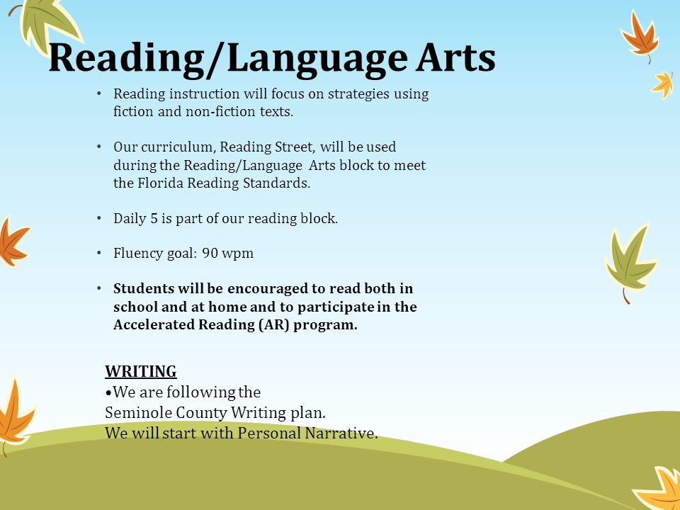 Reading/Language Arts Reading instruction will focus on strategies using fiction and non-fiction texts.